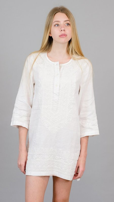 Birds of Paradise Long-Sleeve Embroidered Tunic - White