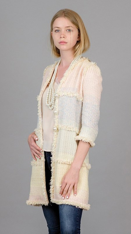 Edward Achour Paris Mid Length Coat with Pearls