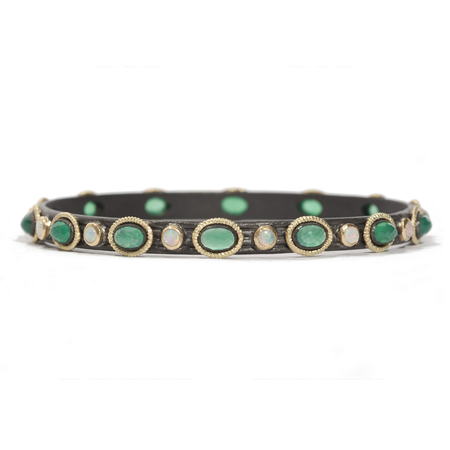 Armenta Midnight Wide Bangle Bracelet Oval Blue MOP Stone And Round Opals