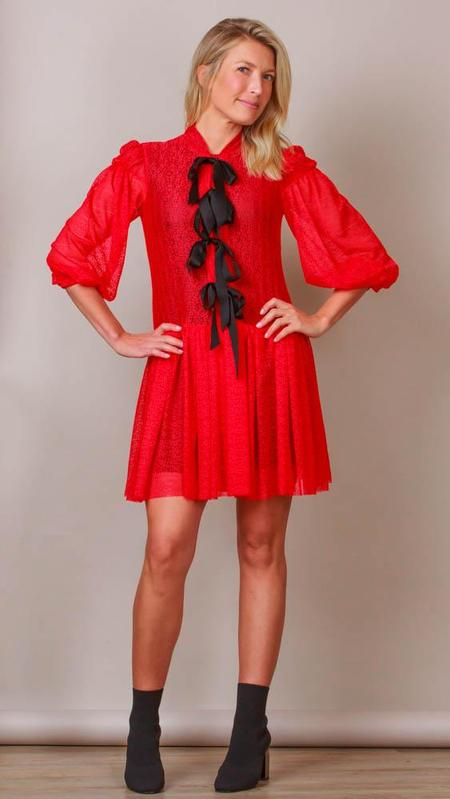 Philosophy Red Lace Dress With Black Buttons And Bows - Red/Black