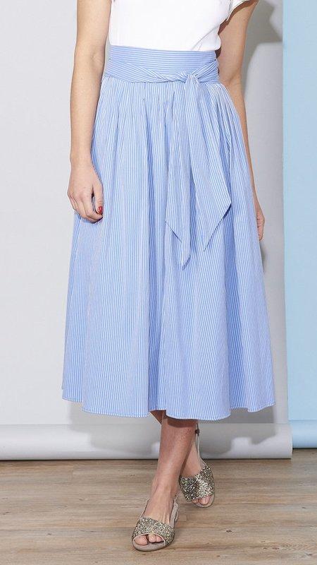 No.6 Scarlett Wrap Skirt - Blue Stripe