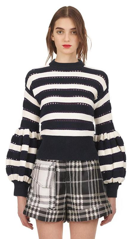 Self-Portrait Striped Balloon-Sleeve Cropped Sweater - Navy/White