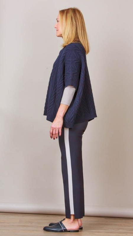Peserico Tuxedo Style Pants - Navy With Beige Stripe