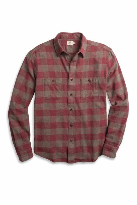 Faherty Brand Brushed Alpine Flannel - Wine Chestnut Buffalo