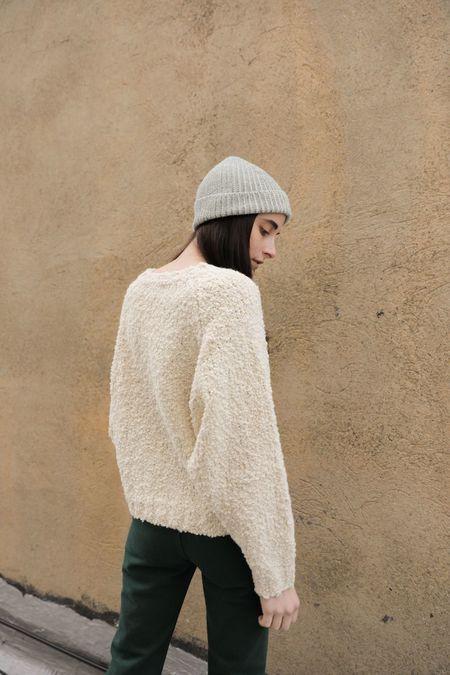 Kordal Plaited Rib Knit Hat - Green/Cream