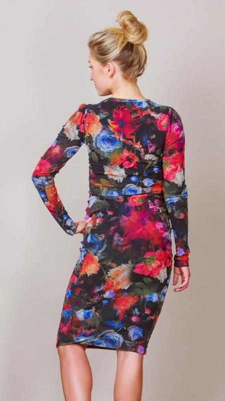 Fuzzi Long Sleeve Midi Sheath Dress - Floral Print