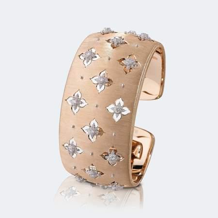 Buccellati Macri Giglio Cuff Bracelet - Rose Gold/White Gold