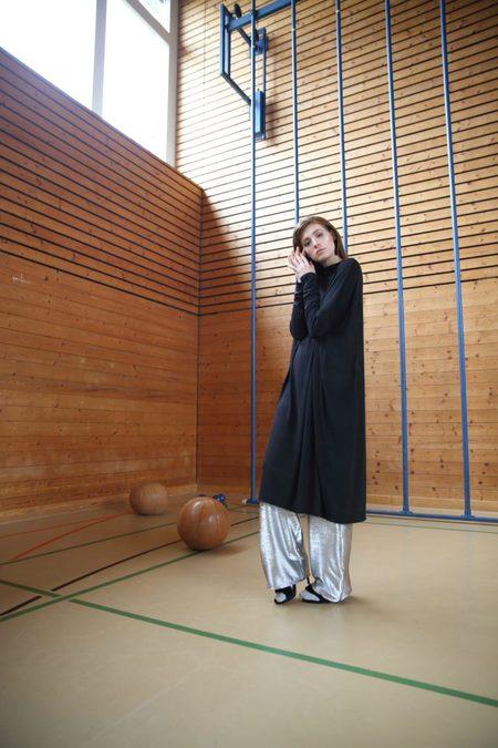Claudia Nabholz Open Back Viscose Dress - Dark Grey