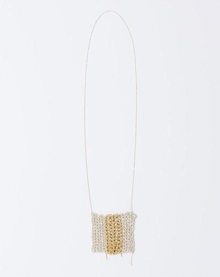 Arielle De Pinto Striped Square Drop Necklace - Silver/Gold