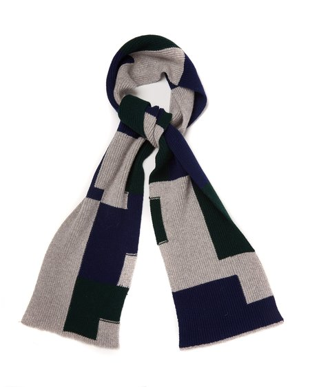 Country of Origin Intarsia Boro Scarf - Grey/Green/Navy