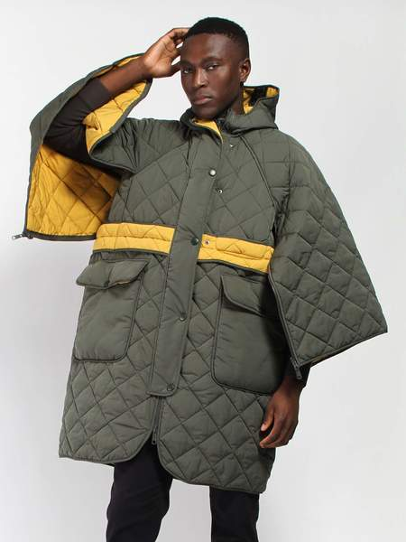 Henrik Vibskov Eco Drop Coat - Green/Yellow
