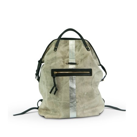 Kempton & Co Postal Silver Stripe Backpack - natural