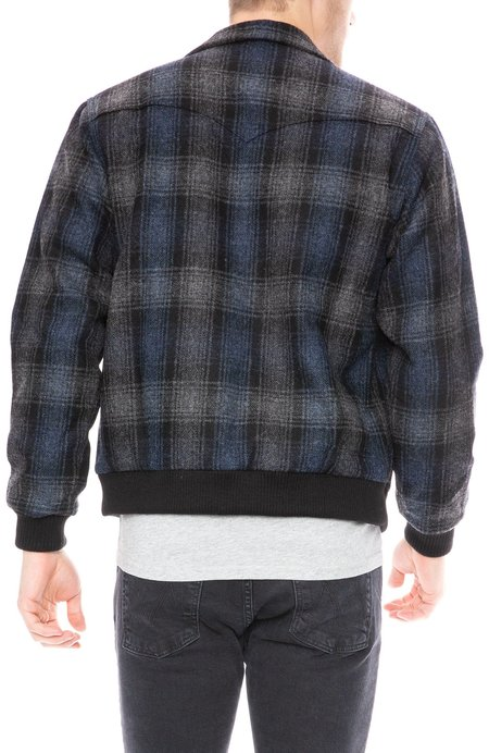 Freemans Sporting Club Shetland Wool Coach Jacket - Navy Plaid
