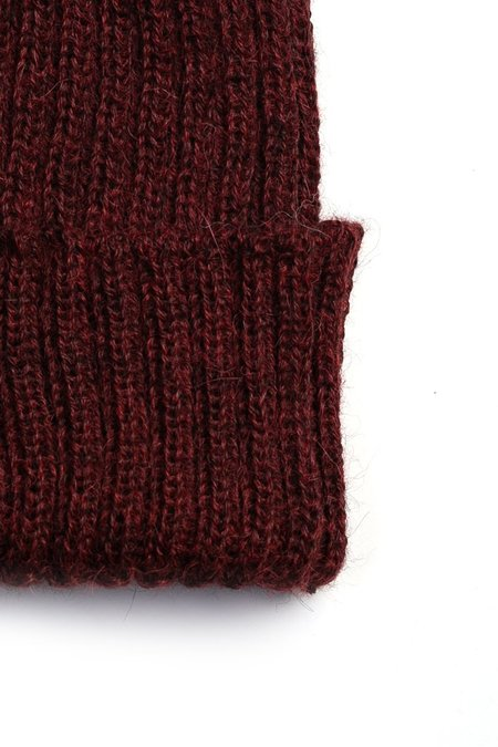 Bridge & Burn Alpaca Wool Ribbed Beanie - Burgundy