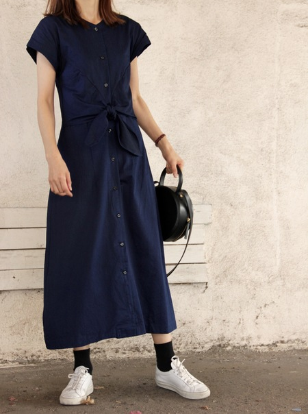 MICAELA GREG KNOTTED DRESS - TRUE BLUE DENIM