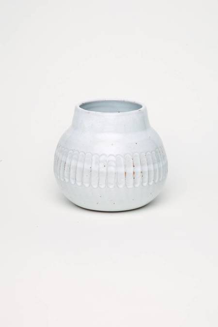 Alice Cheng Studio Vase with Carved Band - White