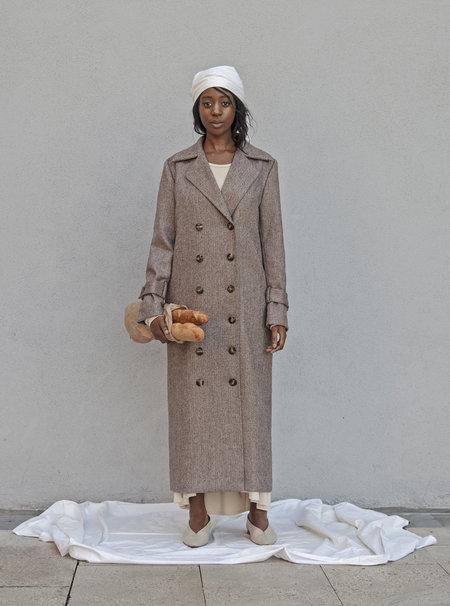 K M by L A N G E Babushka Vintage Fabric Wool Coat - Mocca