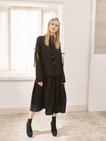 Factorial Label Shirring Shirt Dress - Black