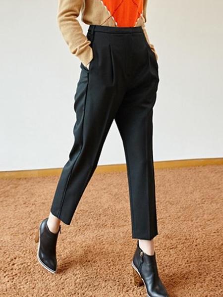 Happening High Waist Tuck Pants - Black