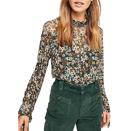 Free People All Dolled Up Top - Green Combo