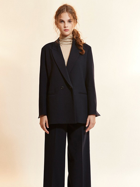 Akro Check Coloration Super Wool Jacket - Navy