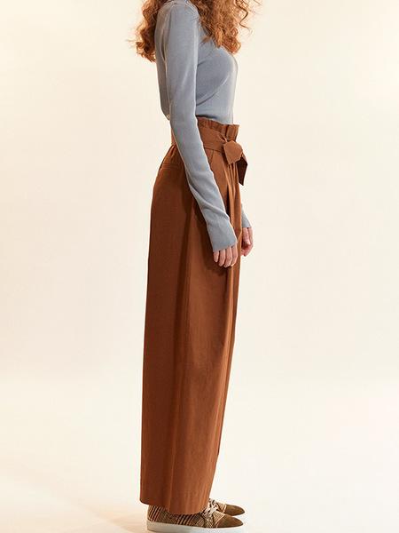 Akro Waist-Tie Cotton Pants - Bronze Brown