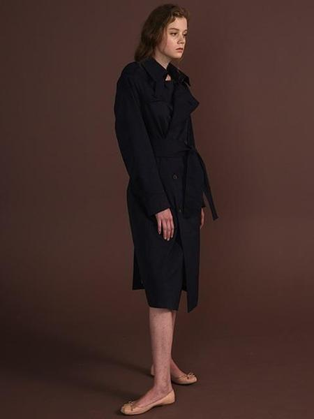 HOZE Folded Cuffus Long Trench Coat - Navy
