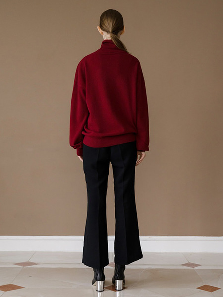 HACER SEOUL WINTER HIGH NECK PUFF SLEEVE KNIT - WINE