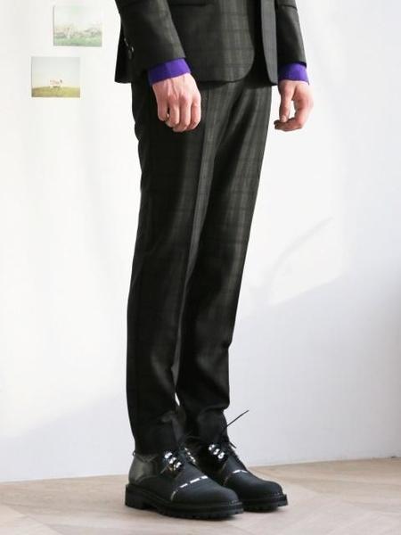 MUNN Wool Silk Checked Selvedge Slim Trouser - Green