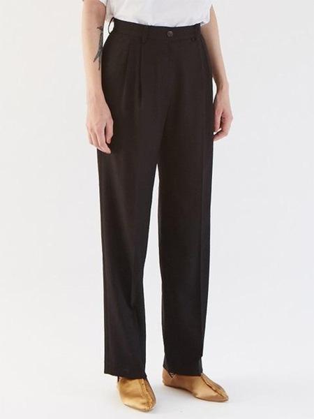 GABRIEL LEE Basic Wide Leg Trousers - Black