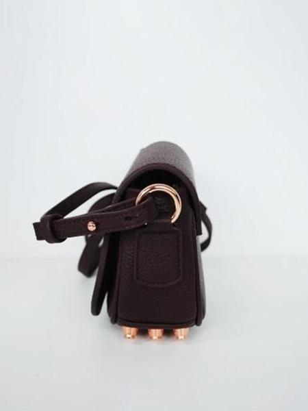 AYIHOLIC CASHMERE Leather Small Cross Bag - Burgundy