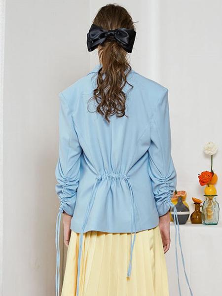 Bpb Skyblue Shirring Jacket - Sky blue