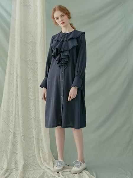DEBB Cape Collar Linen Dress - Navy/Peach
