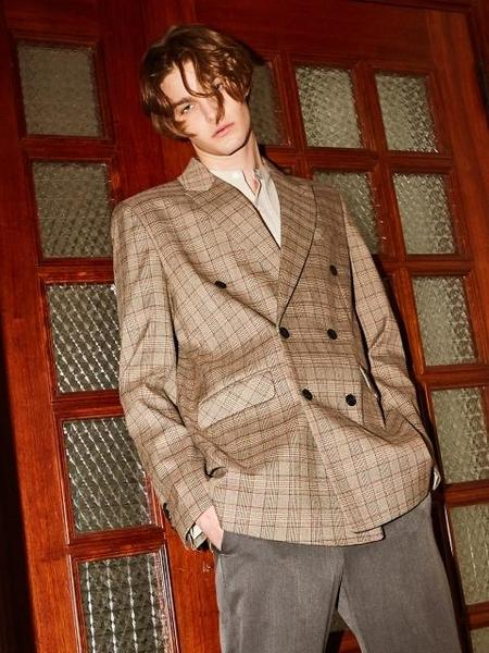 YAN13 Black Label Classic Check Jacket - Brown