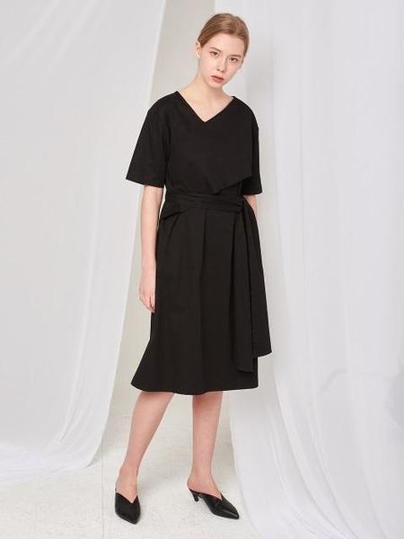 Aoemq Belted Cotton Dress - Black