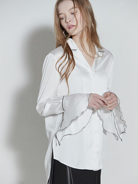 CLUE DE CLARE Flare Cuffs Blouse - White
