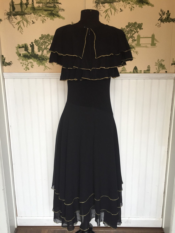 Early 80's Japanese Romantic Spanish Style vintage black dress size small