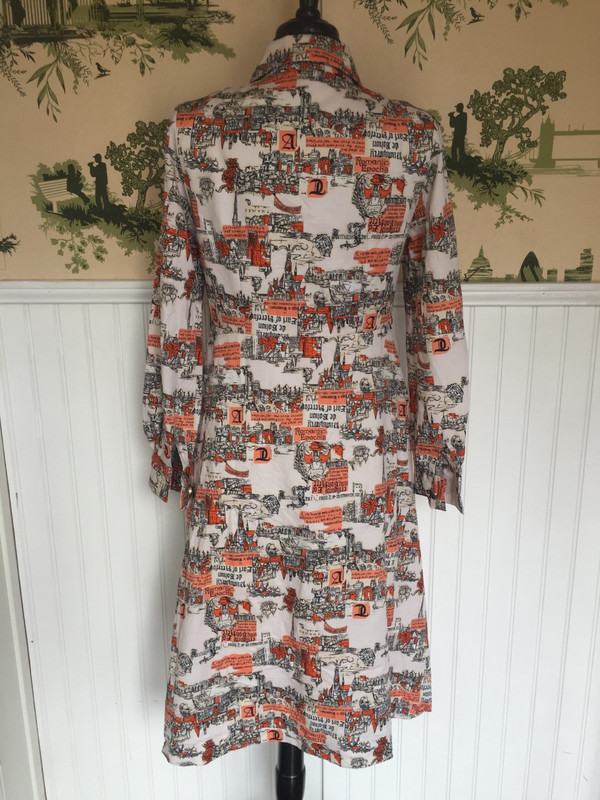 Japanese abstract print dress orange and black in size medium