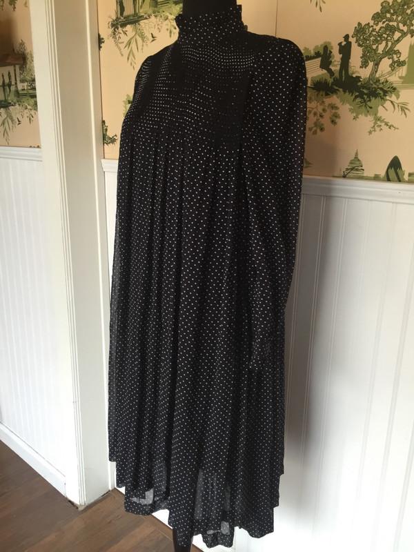 Smock style polka dot pleated designer Japanese dress size Large
