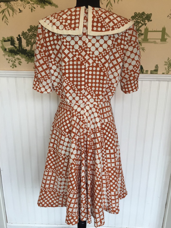 Un-Cinq 70's Japanese abstract polkadot  dress 28 inch waist large