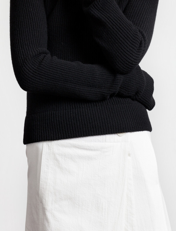 Lemaire Round Neck Rib Sweater Black