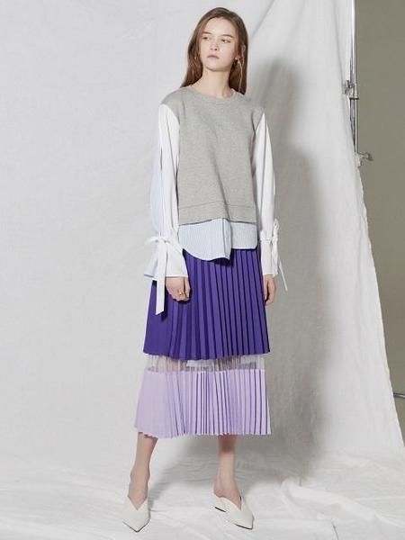 CLUE DE CLARE Tone On Tone Pleats Skirt - Purple