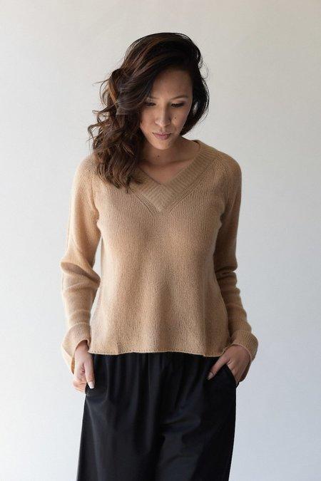 Ryan Roche Cashmere V Neck Sweater - Buff