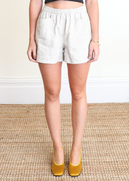 Gravel & Gold Hay Shorts - Linen Stripe