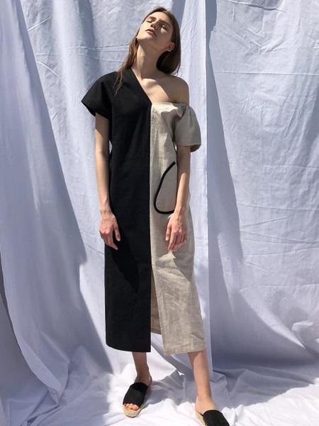 ECOMMAE Big Pocket Unbalanced Linen Dress - Beige/Black