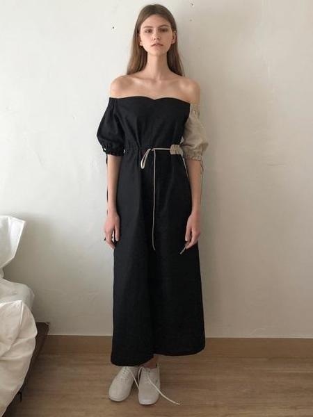 ECOMMAE Tulip Off The Shoulder Long Dress - Beige/Black