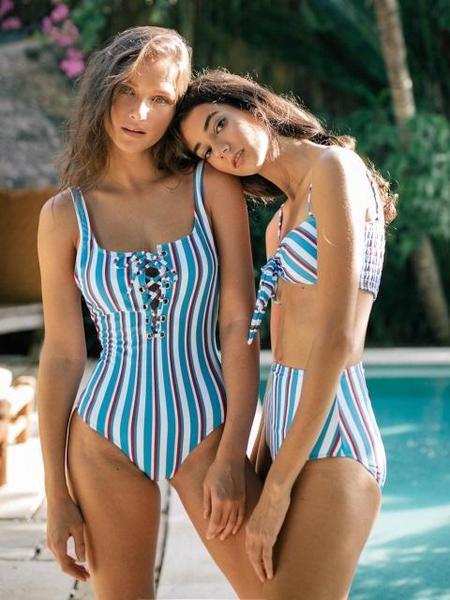 Daze Dayz Lagoon Lace-up One-Piece Swimsuit - Multi Stripe