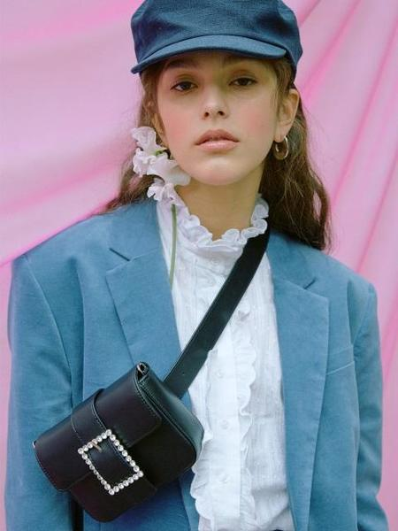 HIGH CHEEKS Lady Embellished Leather Belt Bag - Black