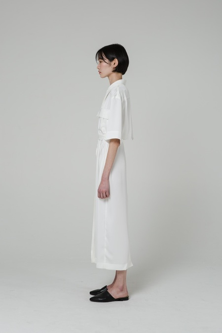GRID SEOUL Belted Silky Shirt Dress - White