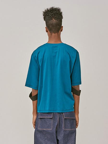 UNISEX DOZOH String T-Shirt - BLUE GREEN